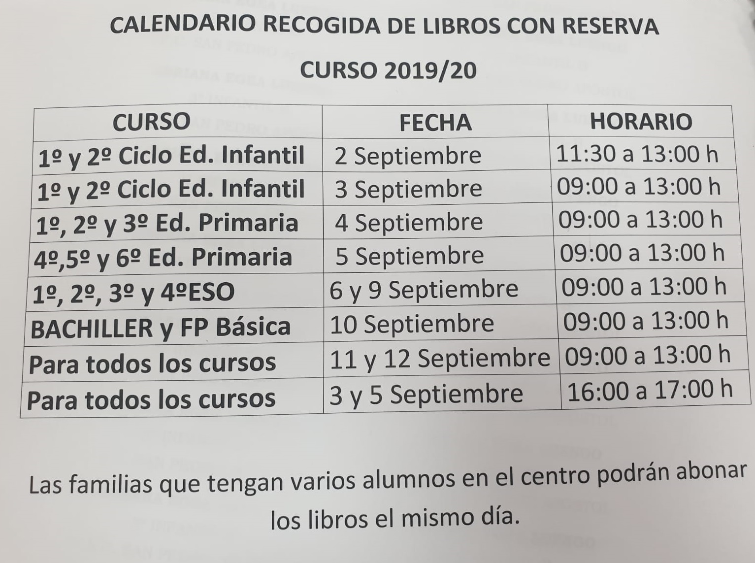 Calendario Recogida Libros con reserva.